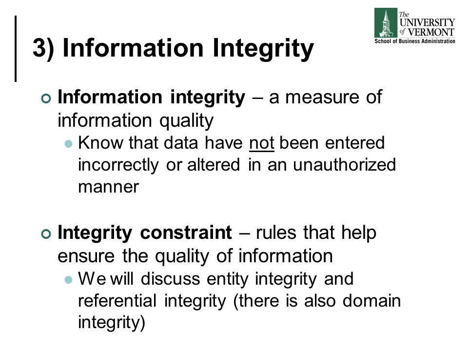 3) Information Integrity