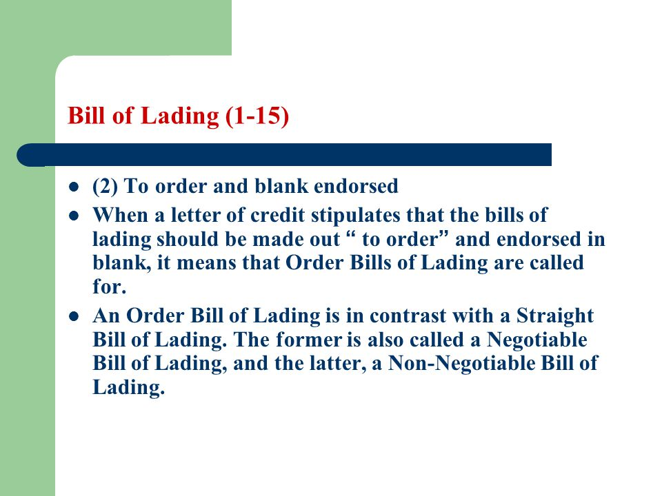 empty bill of lading