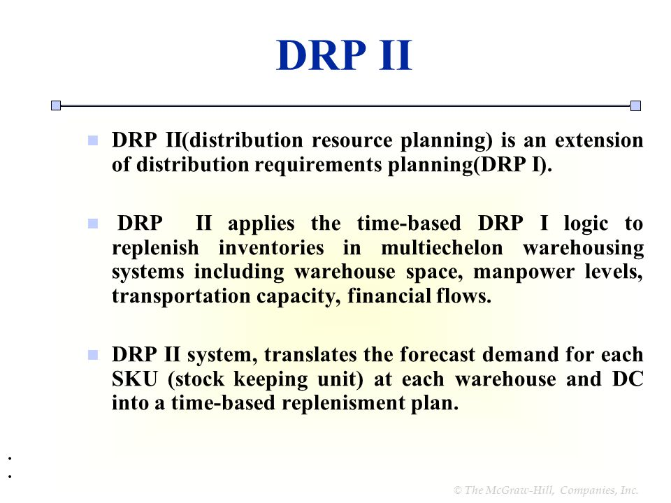 distribution resource requirements planning Start studying supply chain chapter 6- resource planning systems learn vocabulary, terms, and more with flashcards  distribution requirements planning (drp).