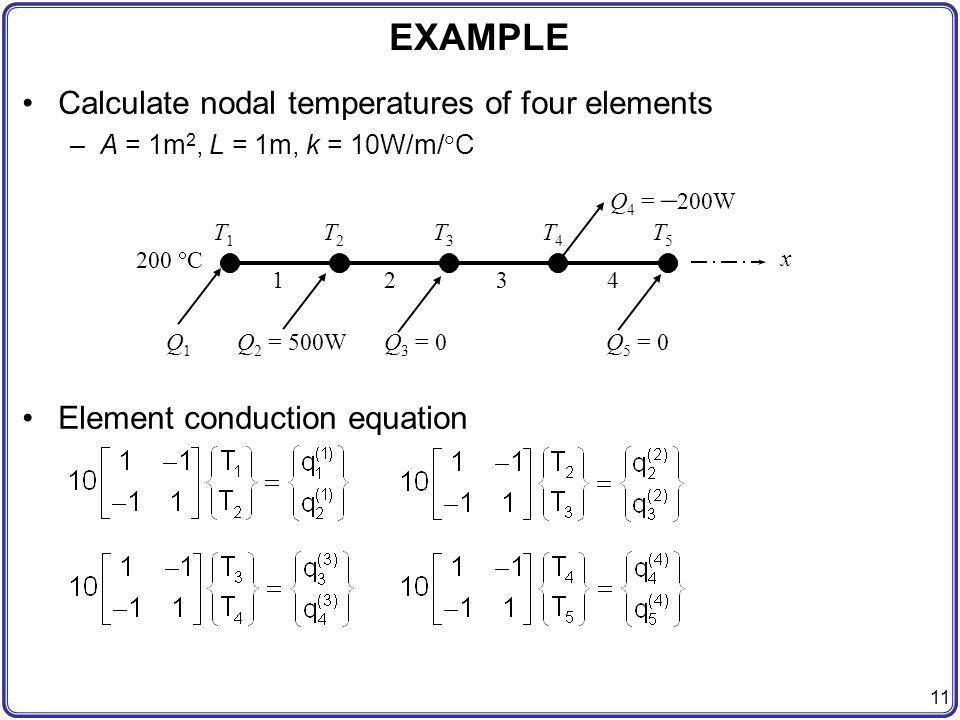 EXAMPLE Calculate nodal temperatures of four elements