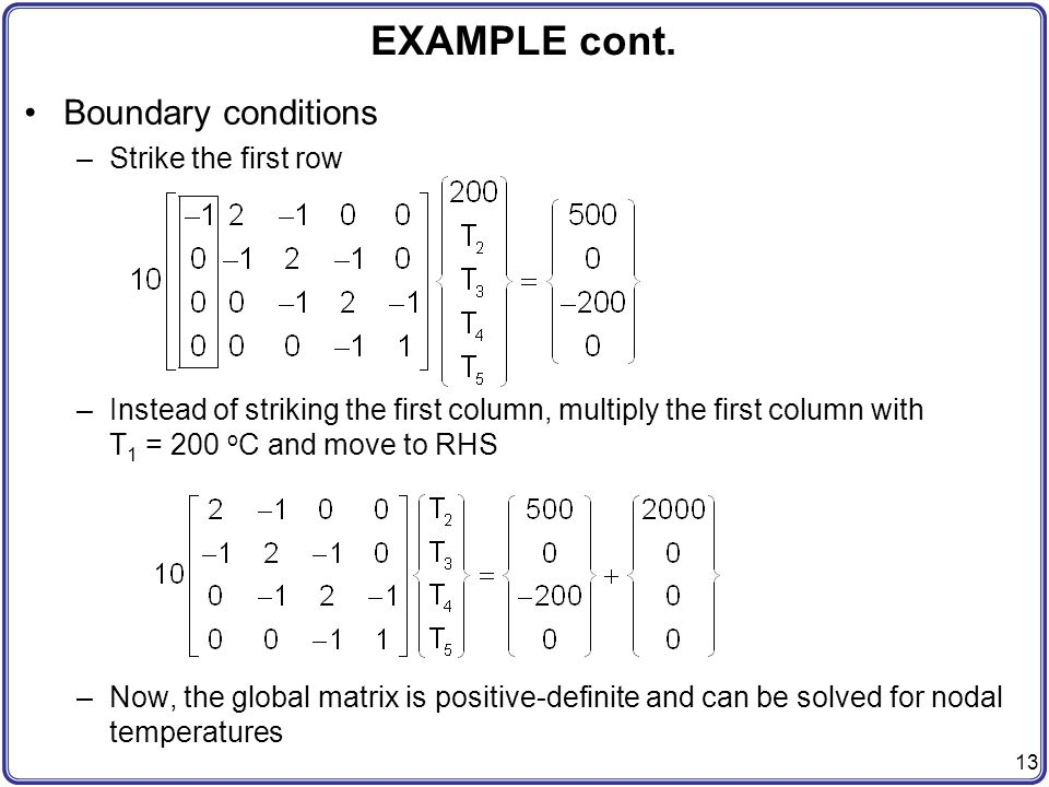 EXAMPLE cont. Boundary conditions Strike the first row
