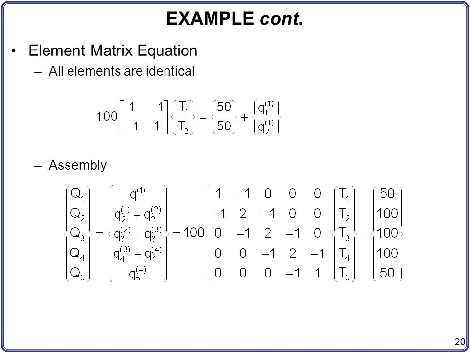EXAMPLE cont. Element Matrix Equation All elements are identical