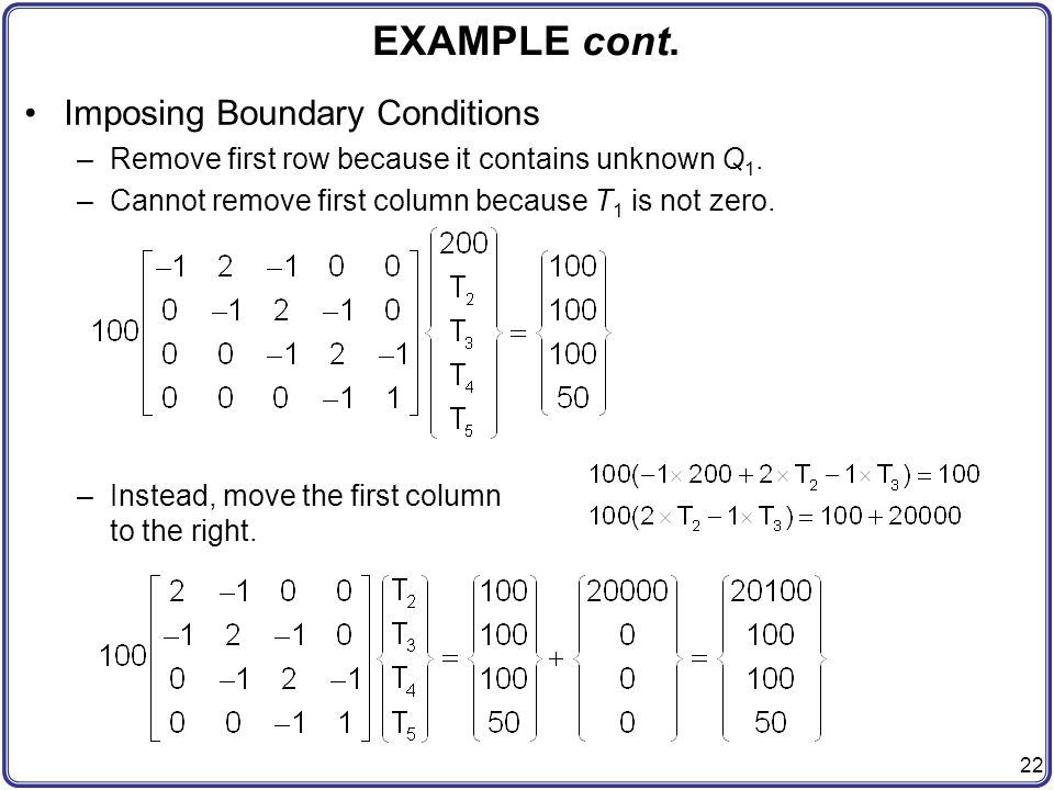 EXAMPLE cont. Imposing Boundary Conditions