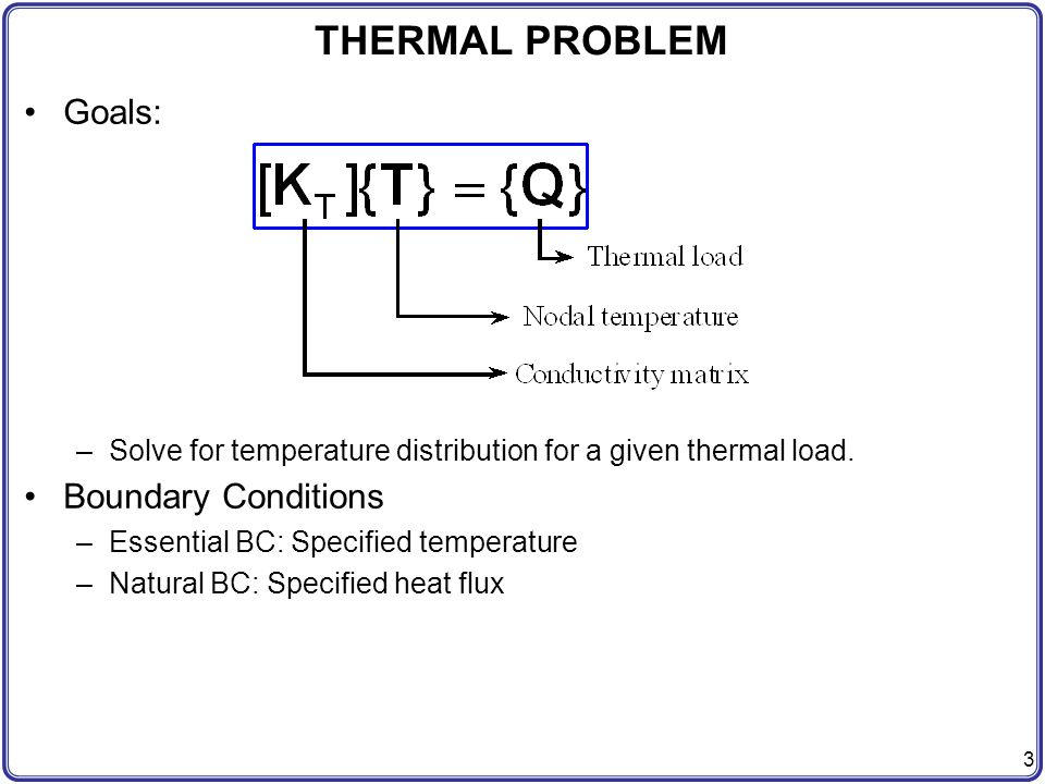THERMAL PROBLEM Goals: Boundary Conditions