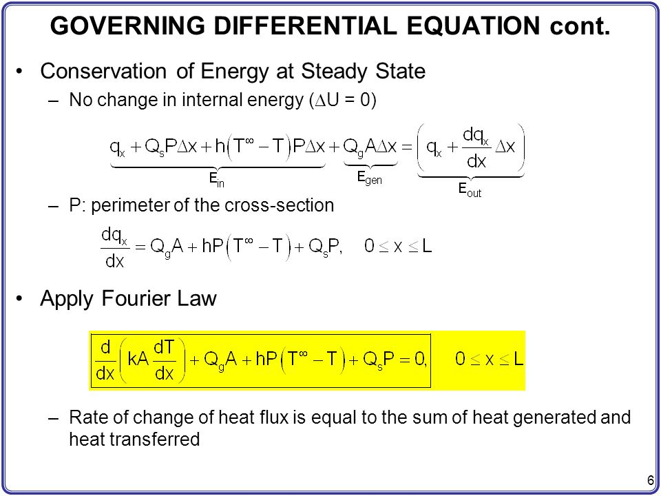 GOVERNING DIFFERENTIAL EQUATION cont.