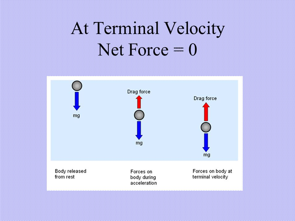 At Terminal Velocity Net Force = 0
