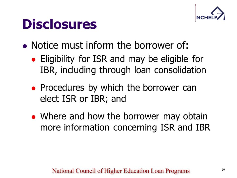Disclosures Notice must inform the borrower of: