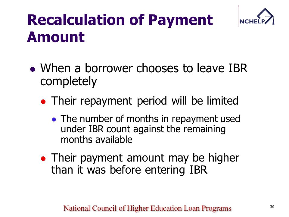 Recalculation of Payment Amount