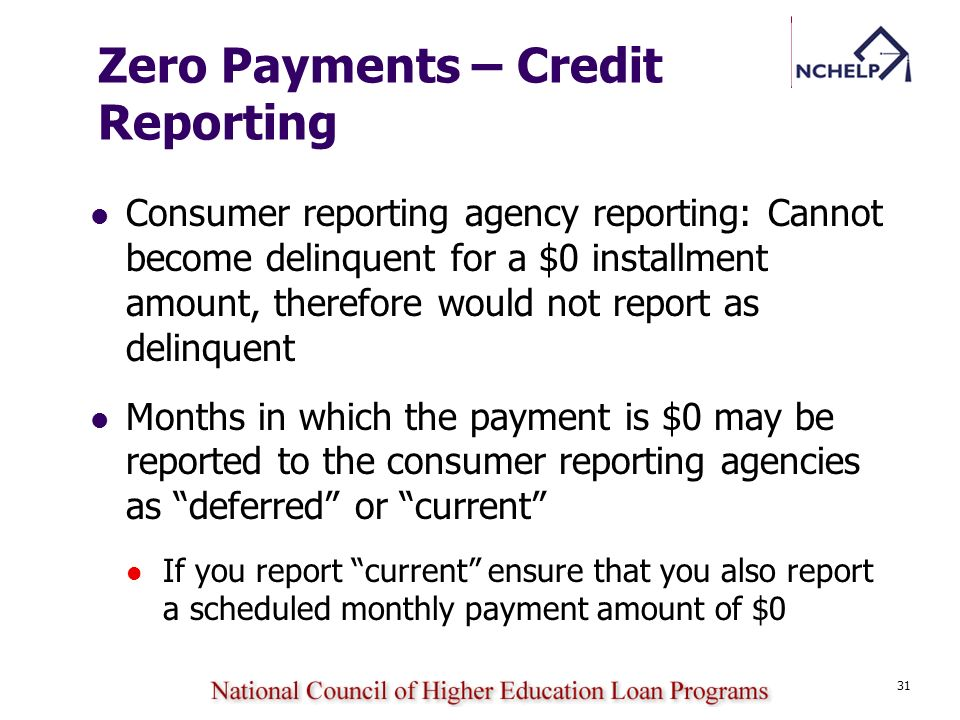 Zero Payments – Credit Reporting