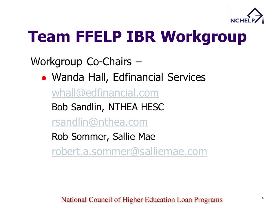 Team FFELP IBR Workgroup