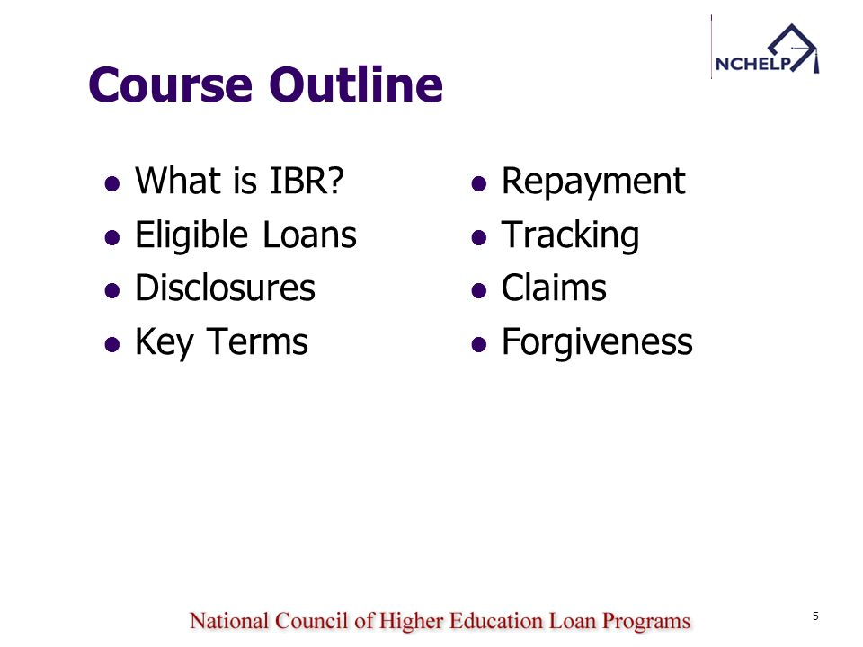 Course Outline What is IBR Eligible Loans Disclosures Key Terms