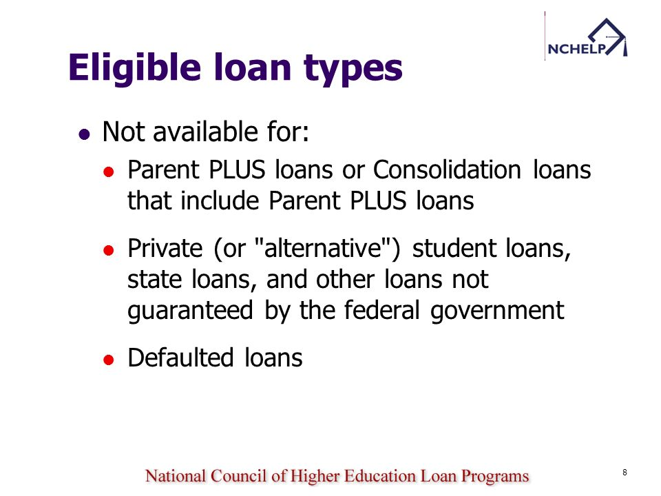 Eligible loan types Not available for: