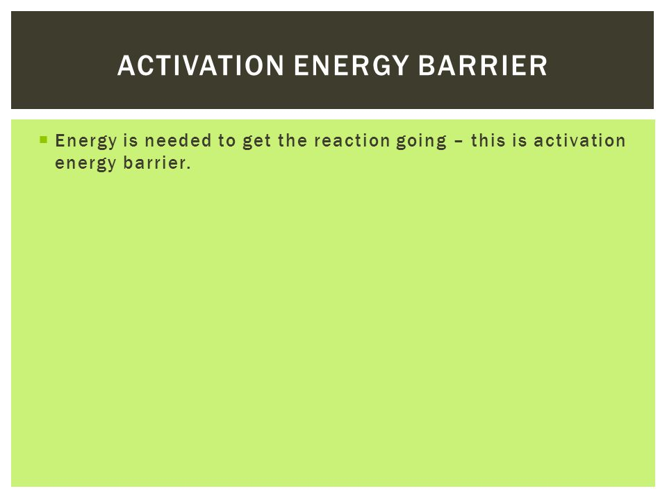 Activation energy barrier