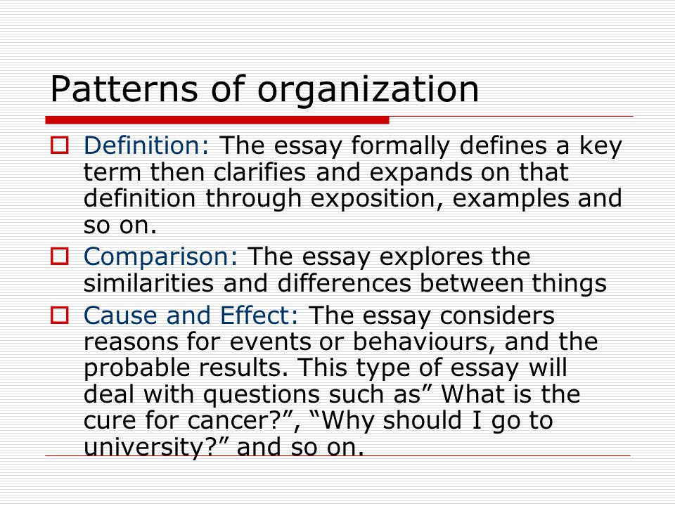 organization of a definition essay Defining the term or a concept can be a tricky job, so start off properly learn how to write a definition essay outline with our guide professors often assign definition essays towards the beginning of a class the focus of this type of essay is to explore a specific concept.