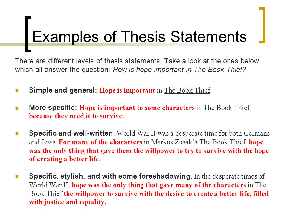 examples of great thesis statements Better thesis statements what is a thesis statement a good thesis statement gives you room to develop your ideas as you wish, but within the boundaries imposed by your knowledge, time what evidence, examples.