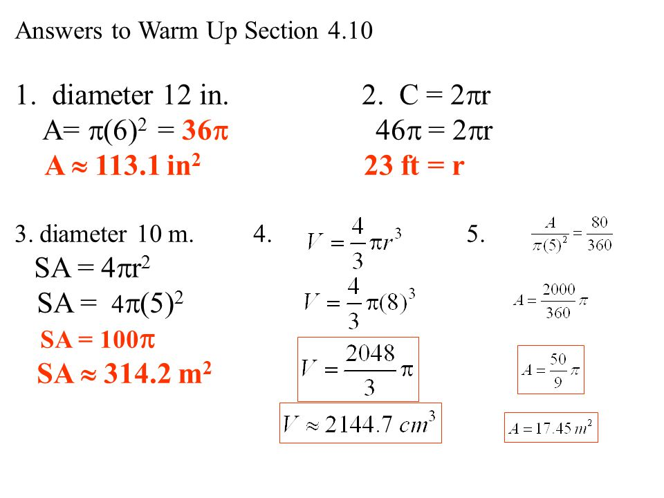 Warm up section find the area of a circle with diameter 12 in 1 diameter 12 in 2 c 2r a ccuart Images