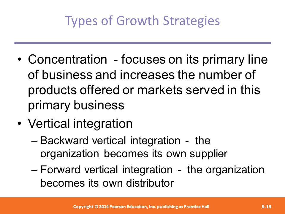 types of growth strategies You need a growth strategy to increase the value of your business examining generic growth strategies is a good start because they apply to all types of businesses, focusing on one aspect of your operations and specifying the actions you must take to achieve your goals once you understand the .