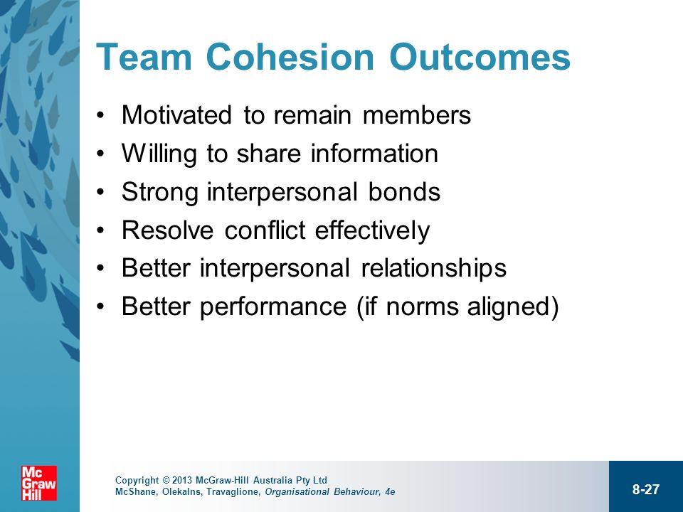 team cohesiveness and team conflict related Becoming a cohesive group: using team building to increase group cohesion  individuals in groups with poor cohesion are more likely to leave the group when conflict and tension arise, because .