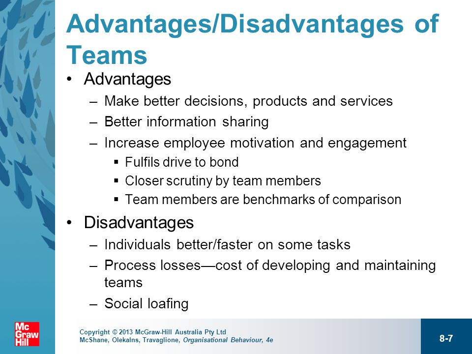 advantages and disadvantages of team work Advantages & disadvantages of lean production by scott shpak, demand media all advantage disadvantage team work essays and term papers.