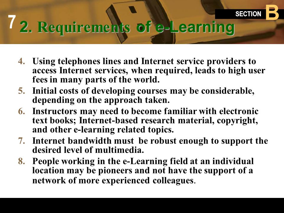 2. Requirements of e-Learning