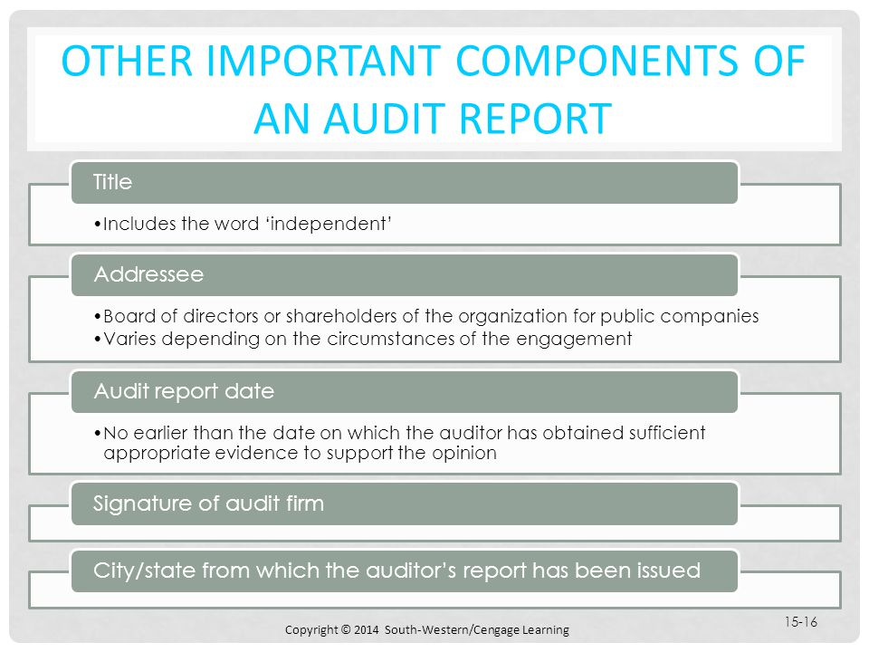 Chapter 15 audit reports on financial statements ppt download other important components of an audit report altavistaventures Choice Image