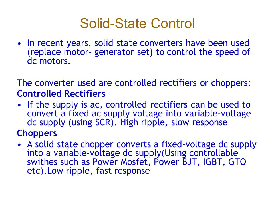 Speed control of dc shunt motor using scr for Solid state motor speed control