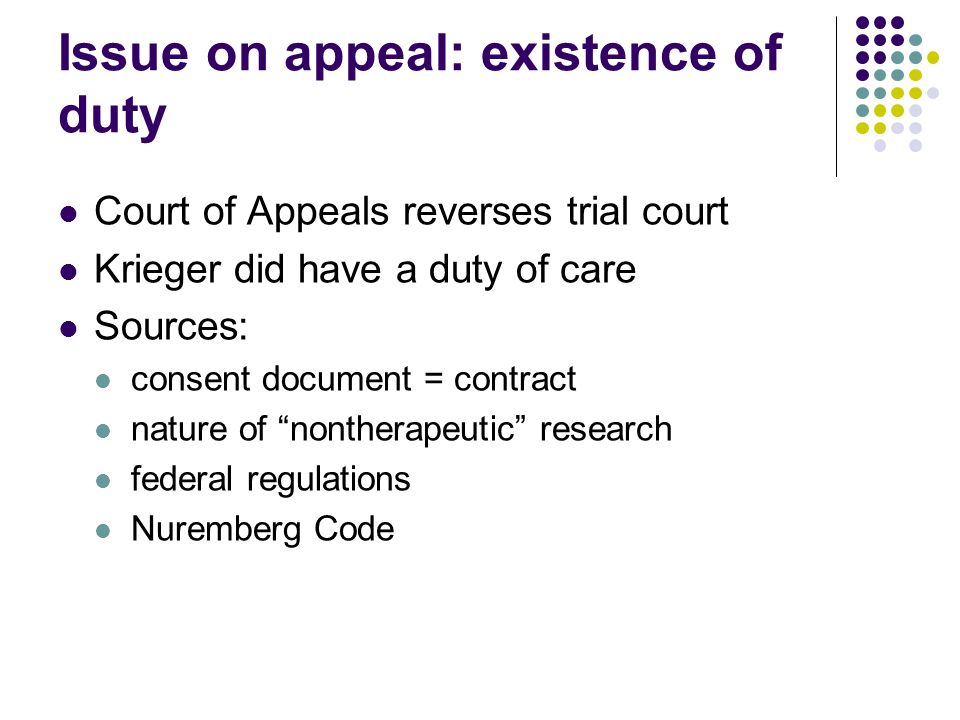 Issue on appeal: existence of duty