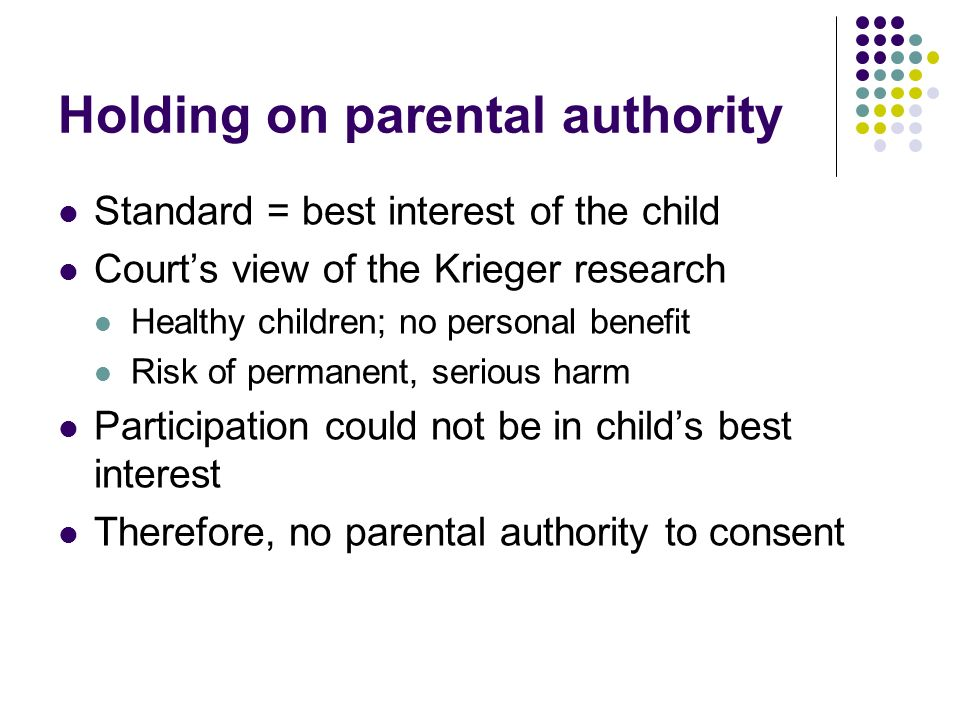 Holding on parental authority