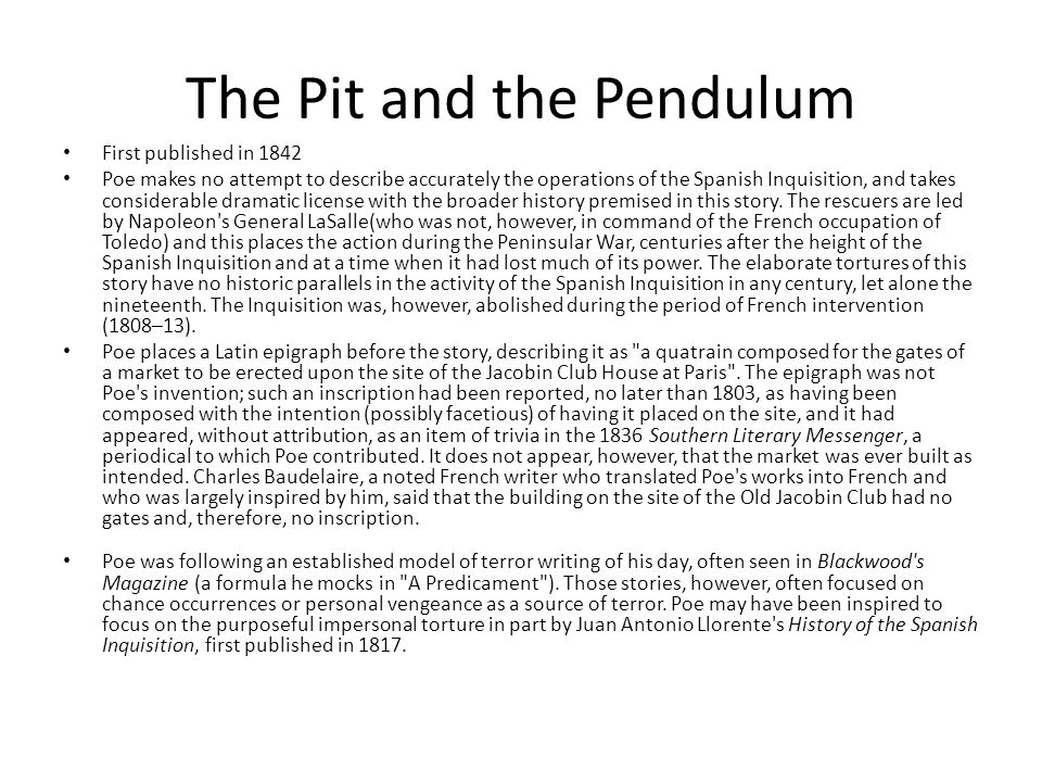 literary analysis essay on the pit and the pendulum The pit and the pendulum is a short story written by edgar allan poe and first published in 1842 in the literary analysis the pit and the pendulum is.