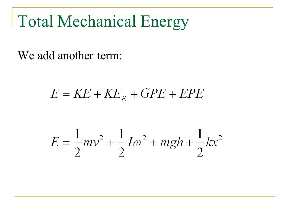 Spring Forces and Simp... Mechanical Energy Formula