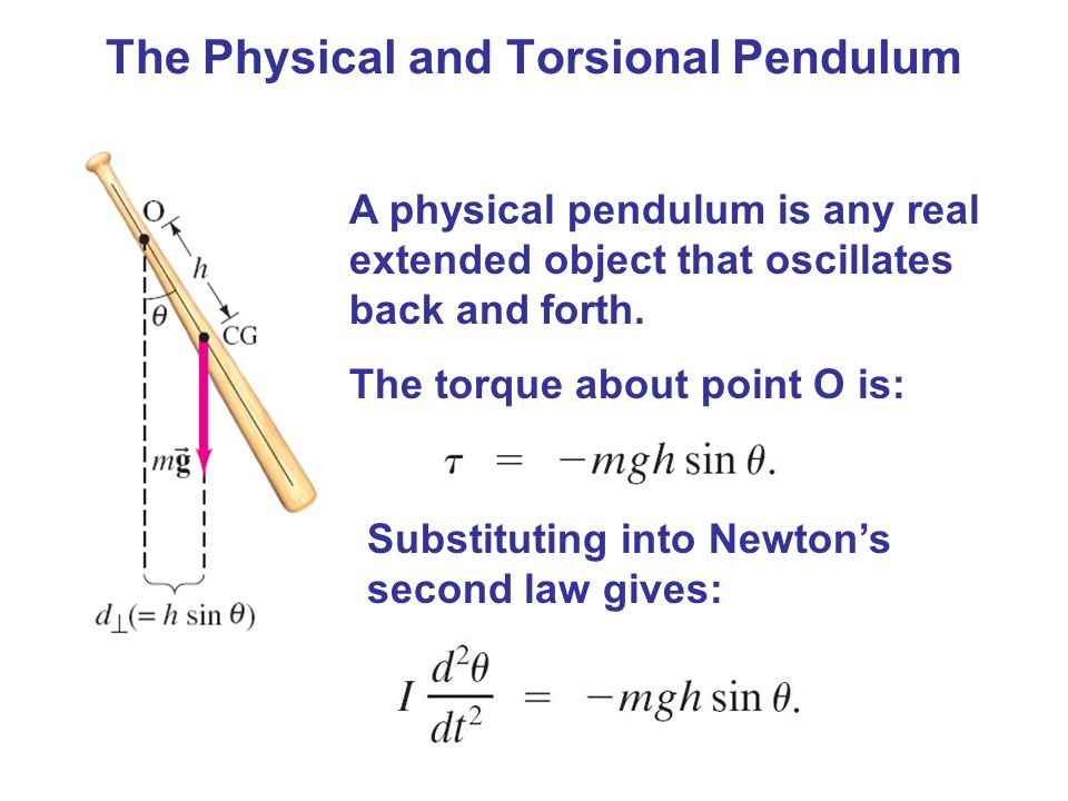 oscillation of torsional pendulum The period of oscillation of torsion pendulum is given as, where i=moment of inertia of the suspended body c=couple/unit twist but we have an expression for couple per unit twist c as, where l =length of the suspension wire r=radius of the wire n=rigidity modulus of the suspension wire.