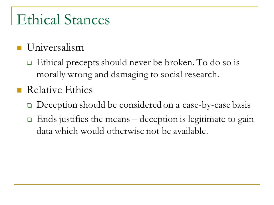 ethical stances Sharing your input on important decisions often requires taking an ethical stance  the decision-making lenses that we use are impacted by our.
