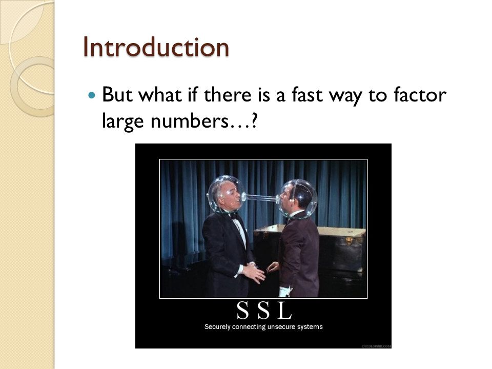 Introduction But what if there is a fast way to factor large numbers…