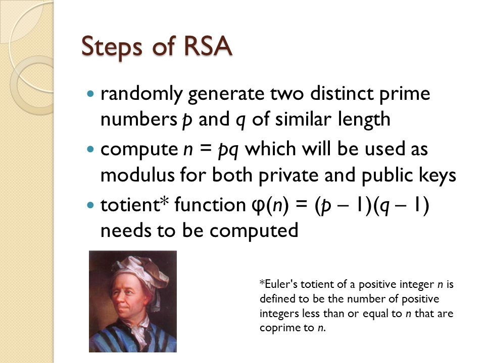 Steps of RSA randomly generate two distinct prime numbers p and q of similar length.