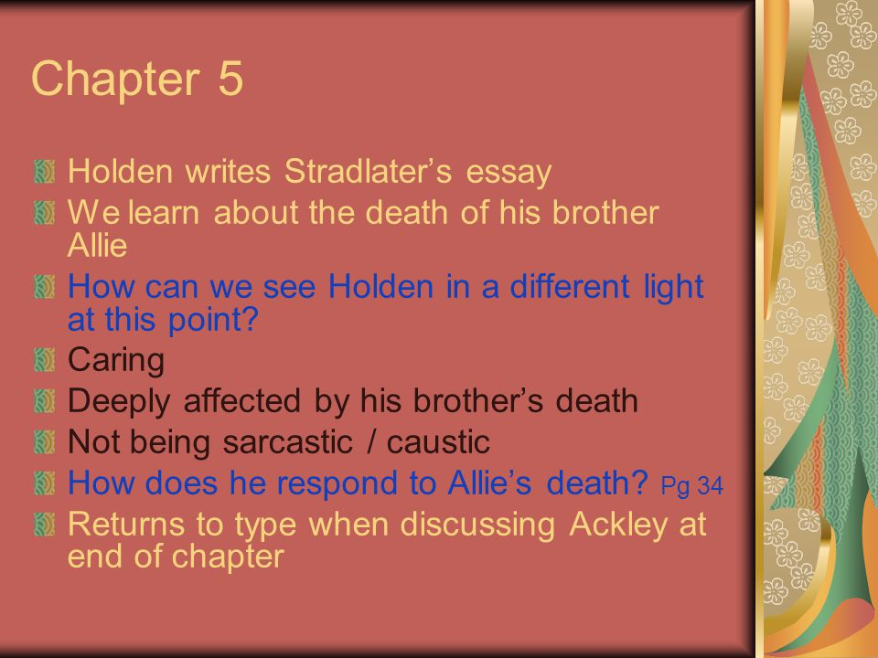 holden essay Plan to teach jd salinger's the catcher in the rye in your english class then read this lesson to find sample essay prompts that will help your.