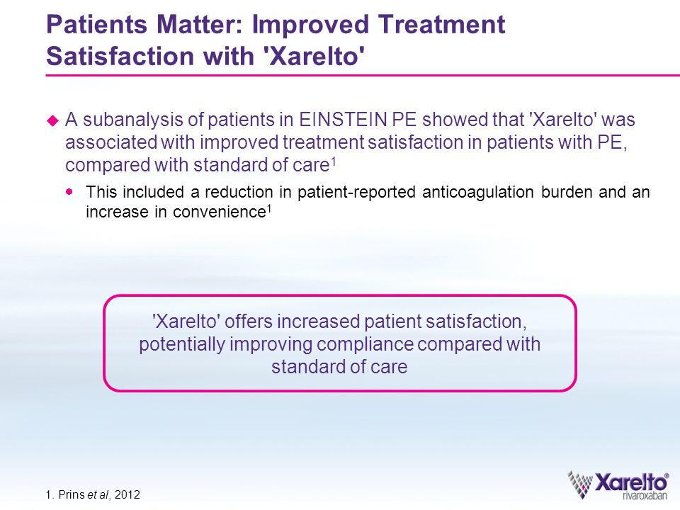 Patients Matter: Improved Treatment Satisfaction with Xarelto