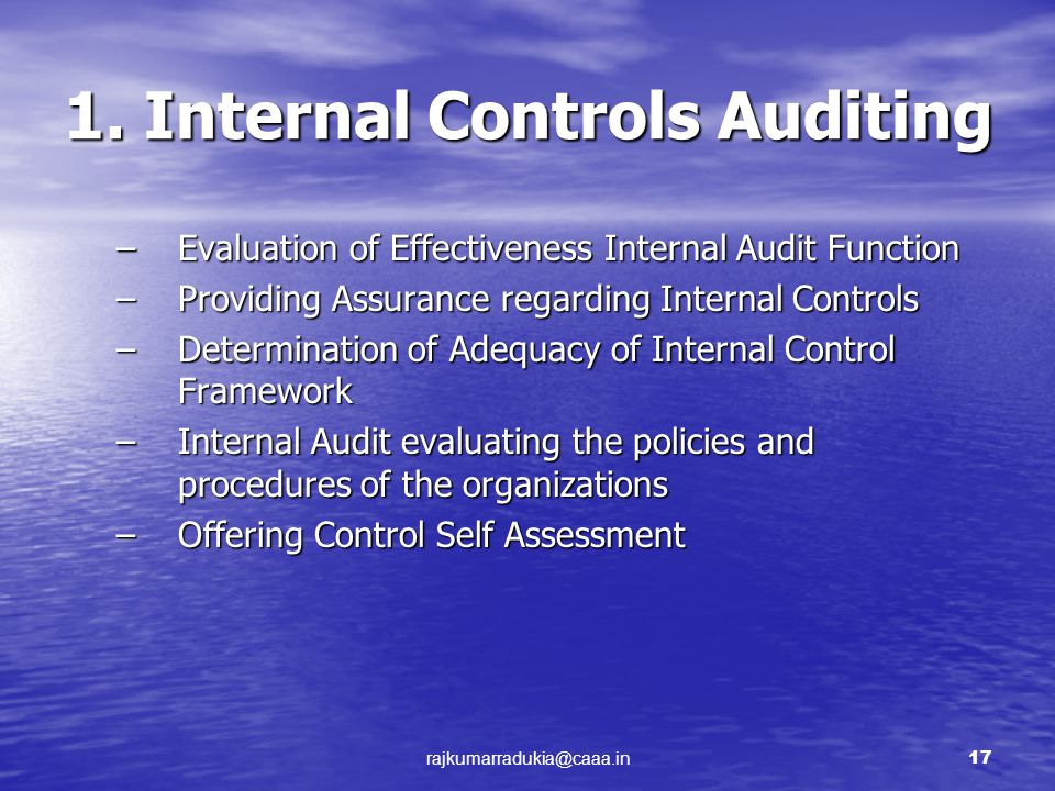 auditing and internal control Internal controls in auditing presented by: hardik shah (s00096042) bing bingwang.