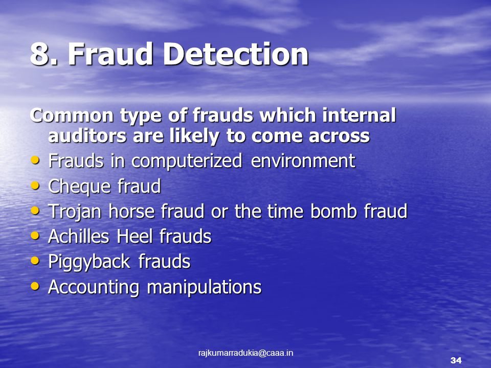 internal audit function and fraud detection Influence of internal audit controls on fraud task of fraud detection the internal audit function is an important function that has been shown to add value and.