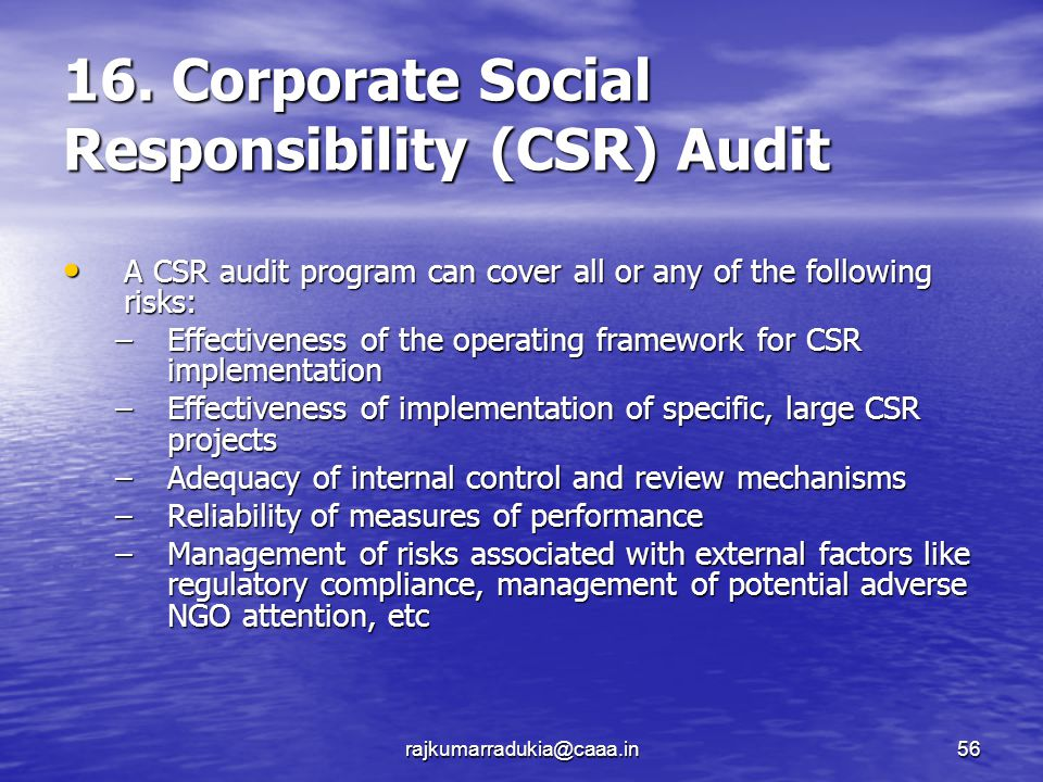 social audit responsibility As a socially aware organisation, the responsibility and principle linked to the sustainable development are at the heart of mazars challengessince 2008, the group.