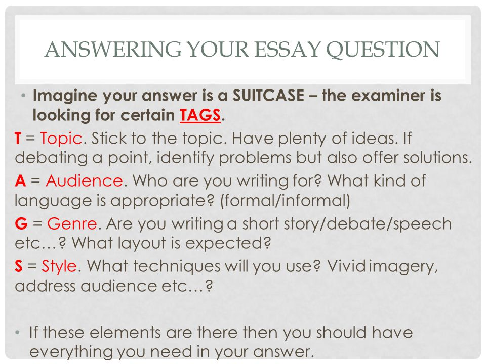 how do you answer questions in essay format