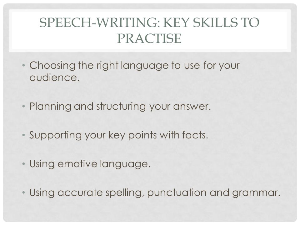 speech writing skills Reading & written language speech language pathologists serve a vital role in the development of literacy skills spoken language and literacy have a reciprocal.