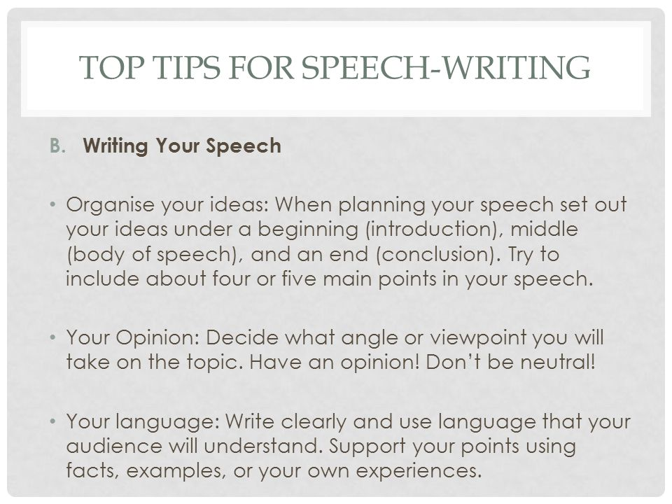 what to write a speech on