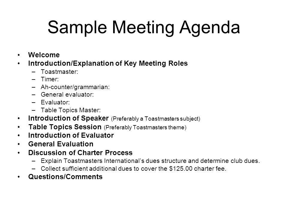 Sample Meeting Agenda Welcome