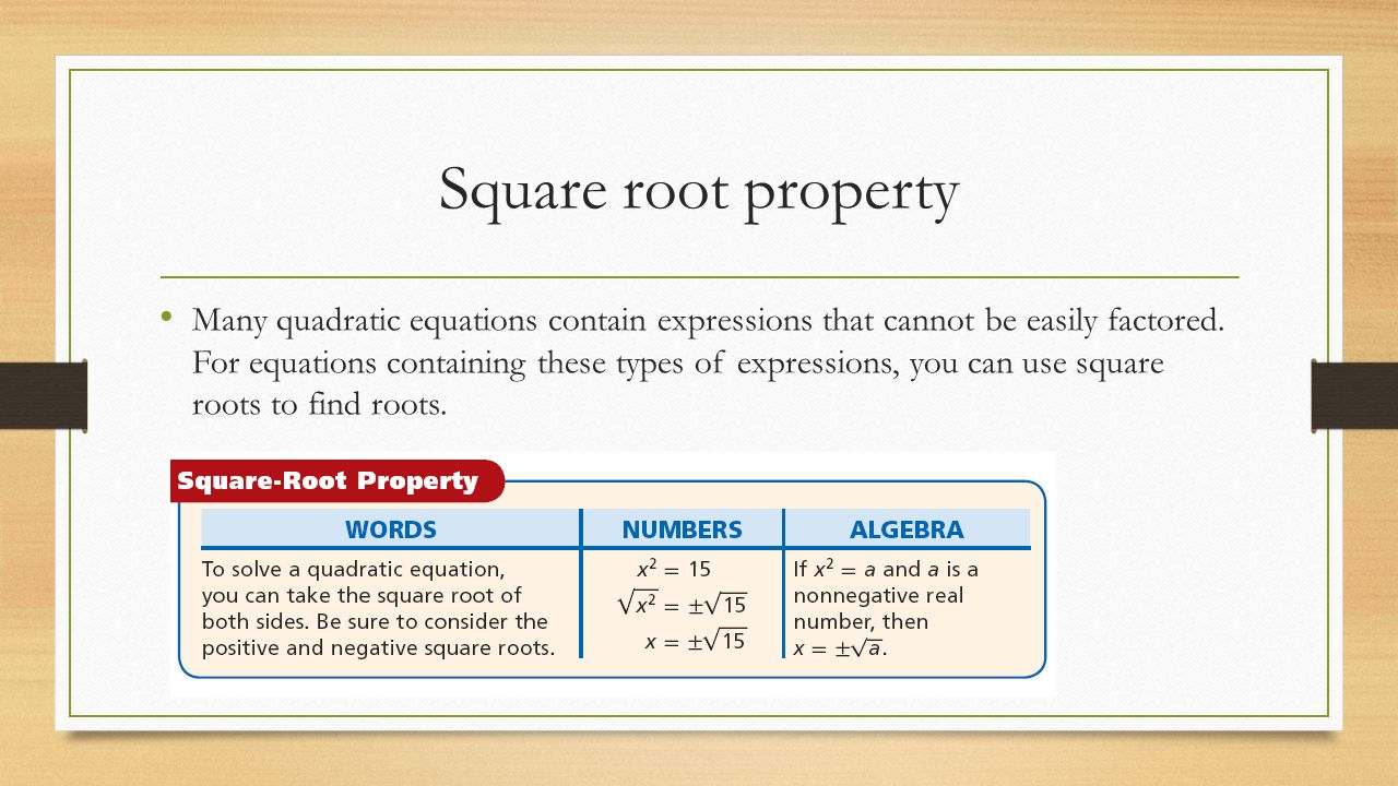 Complete The Square Square Root Property