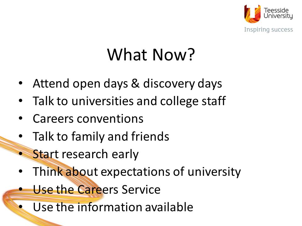 What Now Attend open days & discovery days