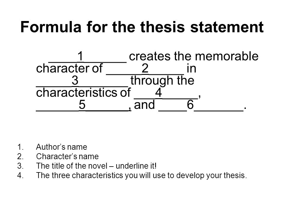 thesis statement for character analysis essay