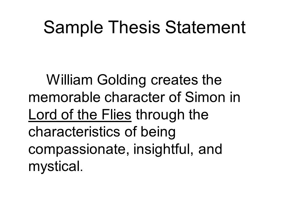 Examples of thesis statements on Lord of the Flies