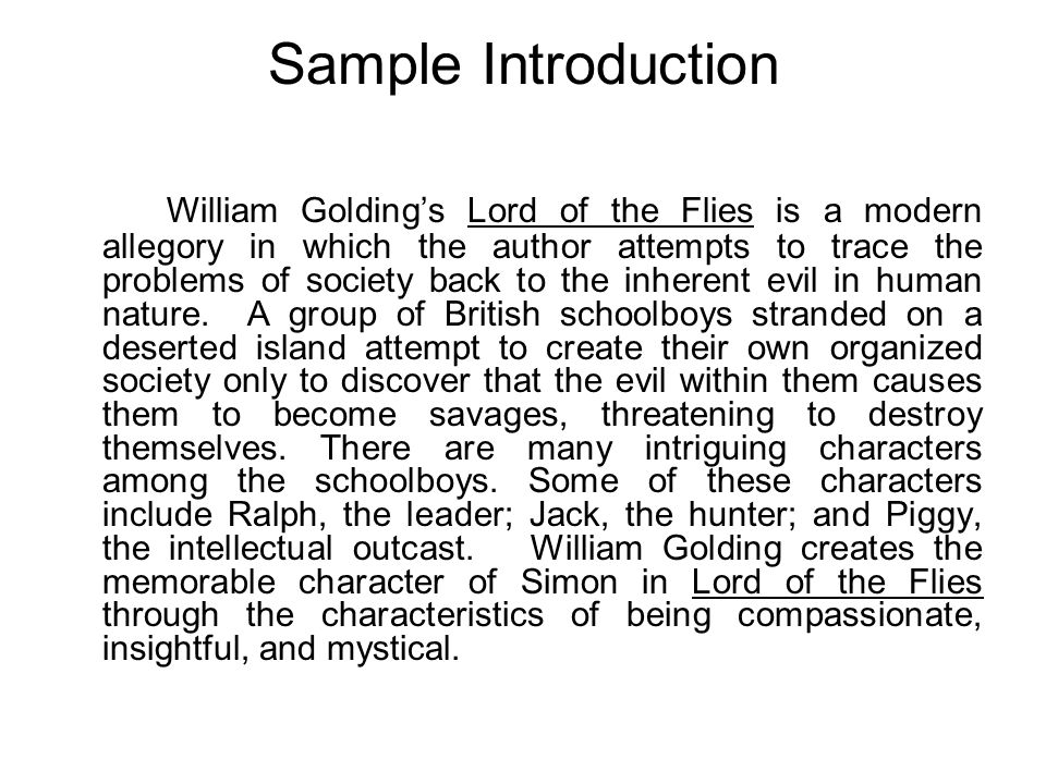 Lord of the flies inherent evil essay