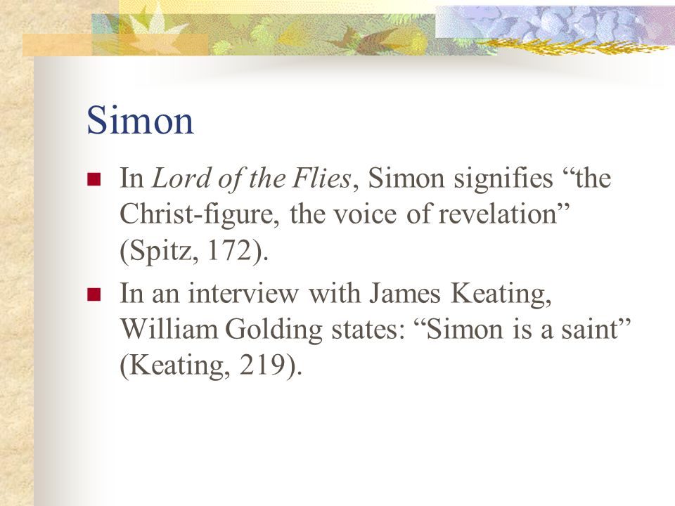 symbolism in lord of the flies ppt video online  14 simon in lord of the flies