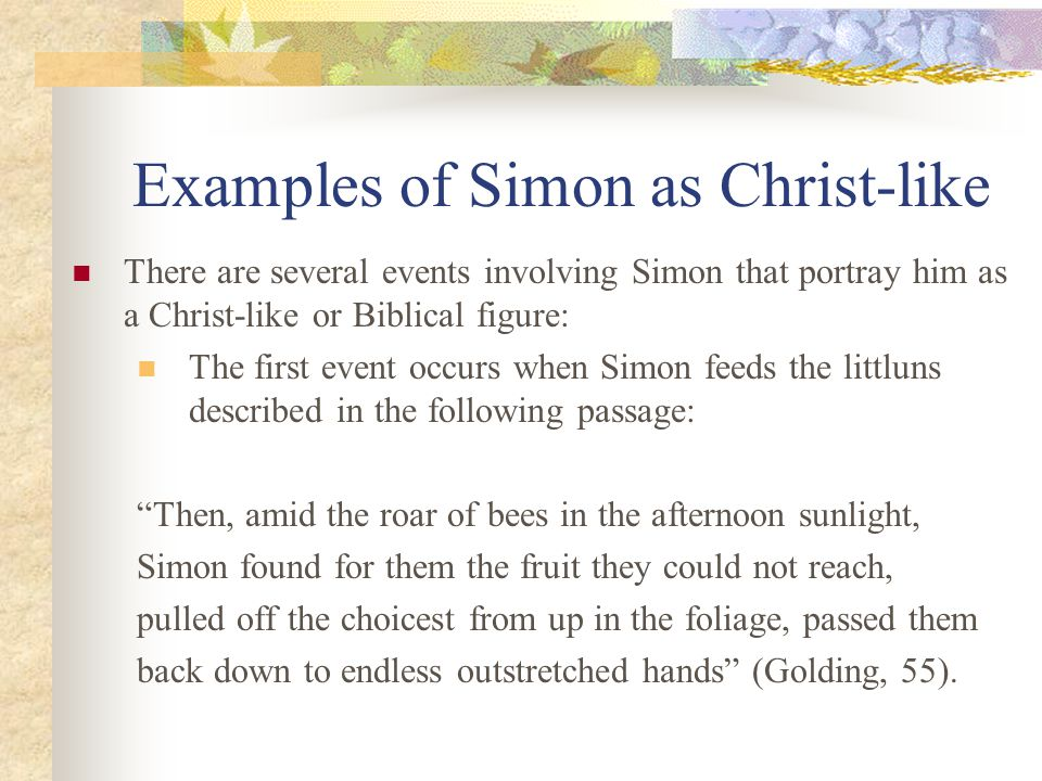 simon as a christ like figure essay The christ-like parallels between simon and jesus are simon is a symbolic christ figure throughout the enotescom is a resource used daily by.